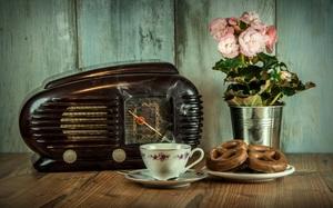 古いラジオとフレッツェル.jpg
